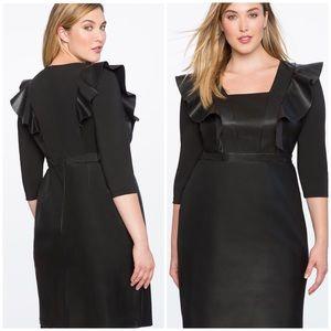 Eloquii Faux Leather Ruffle Dress